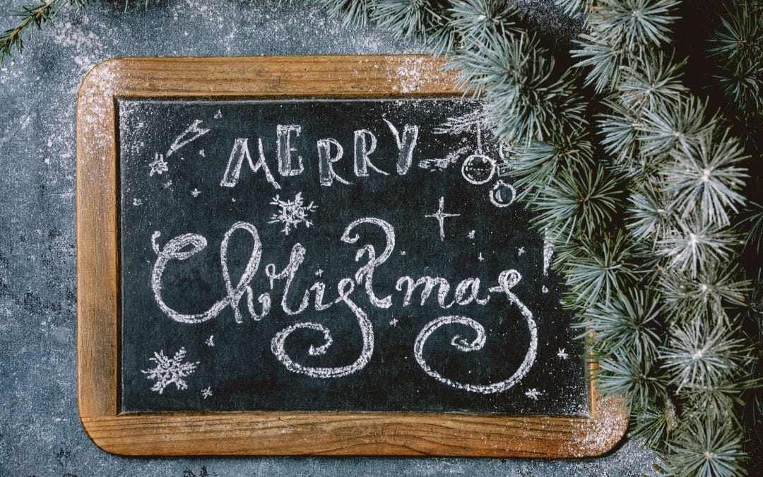 Christmas lettering on chalkboard